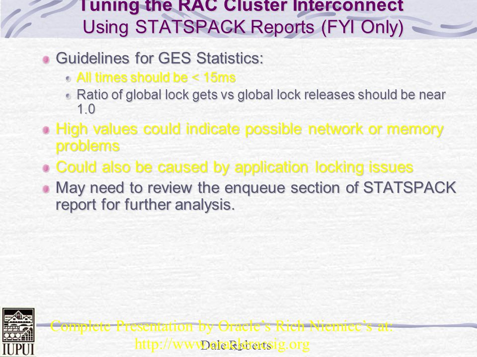 Tuning the RAC Cluster Interconnect Using STATSPACK Reports (FYI Only)