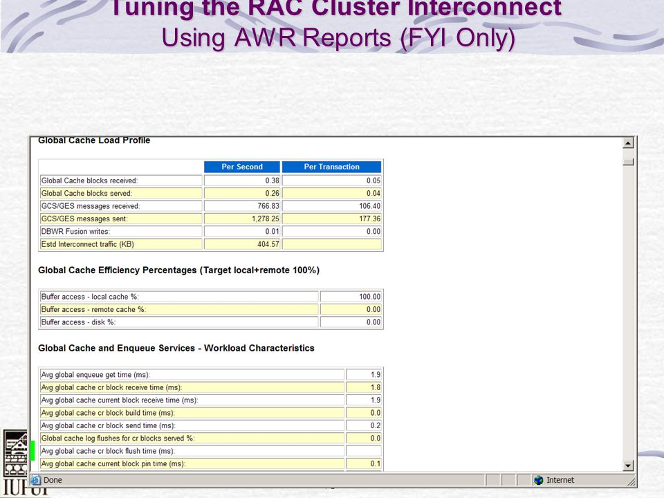 Tuning the RAC Cluster Interconnect Using AWR Reports (FYI Only)