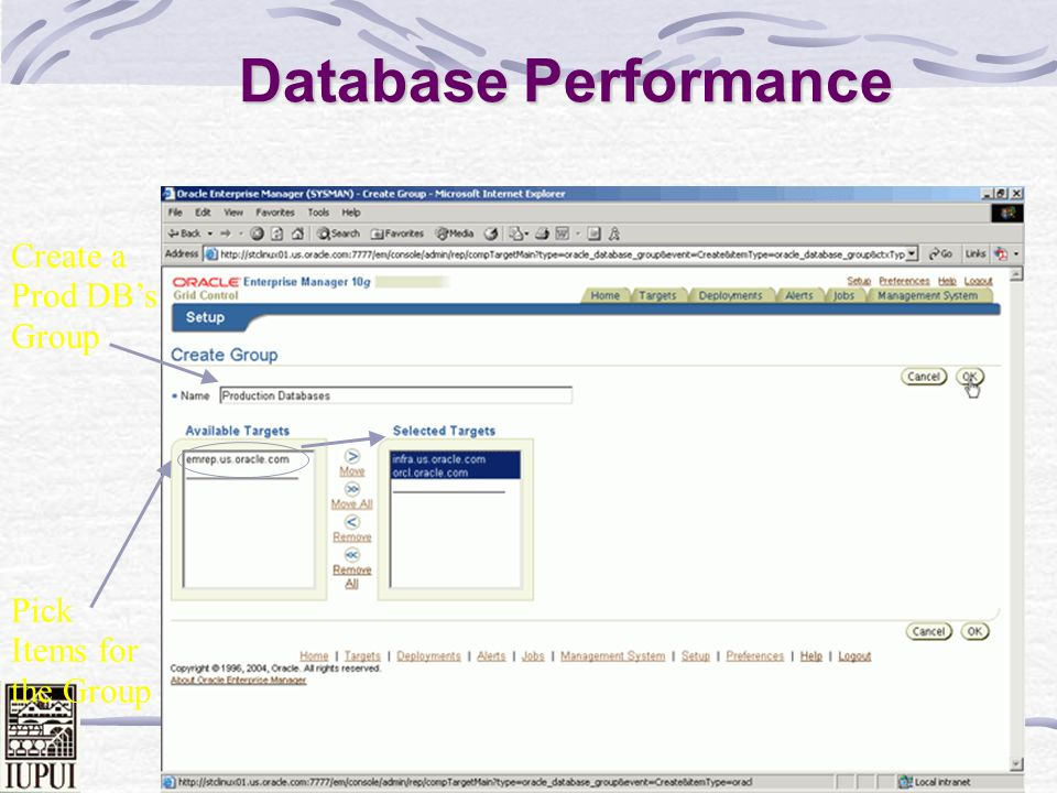 Database Performance Create a Prod DB's Group Pick Items for the Group