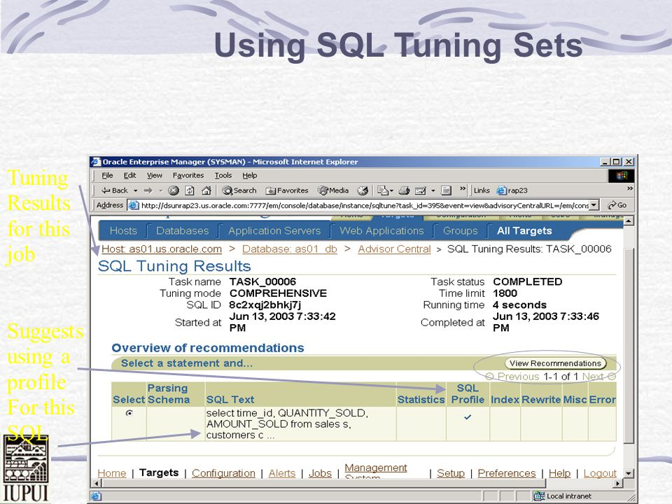 Using SQL Tuning Sets Tuning Results for this job
