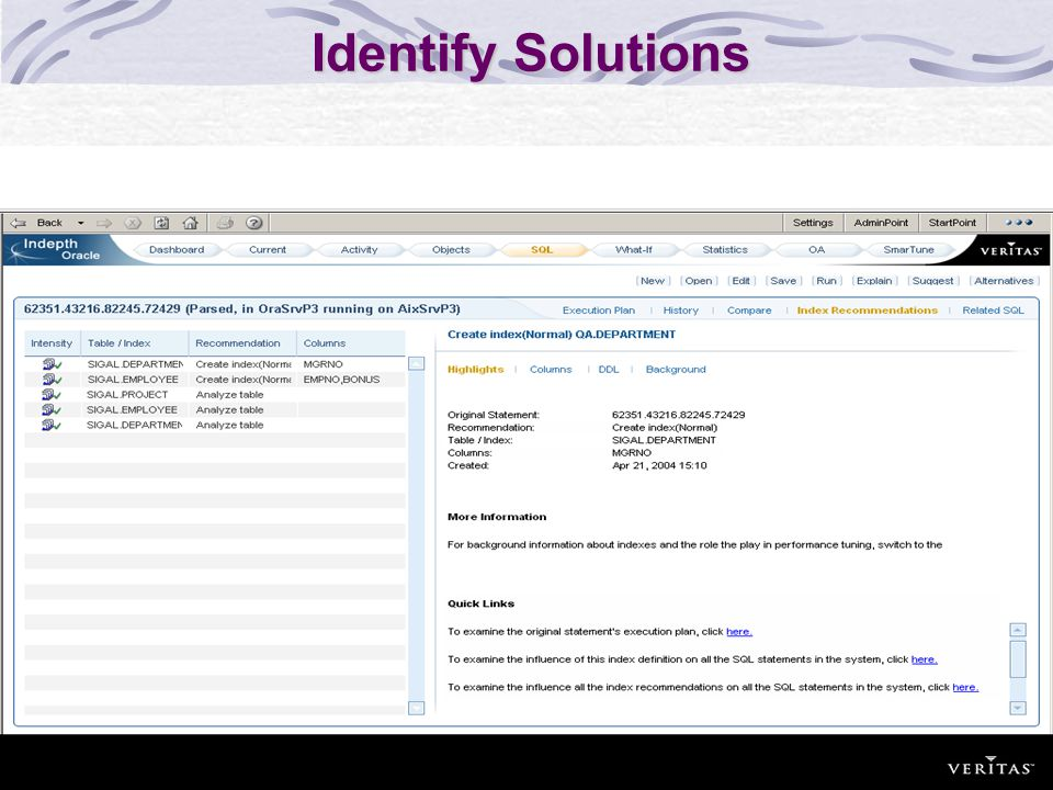 Identify Solutions Flow: Two indexes were adviced. Next Step: