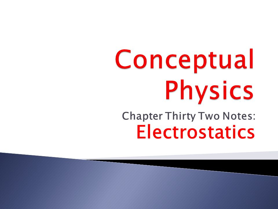 Chapter Thirty Two Notes: Electrostatics