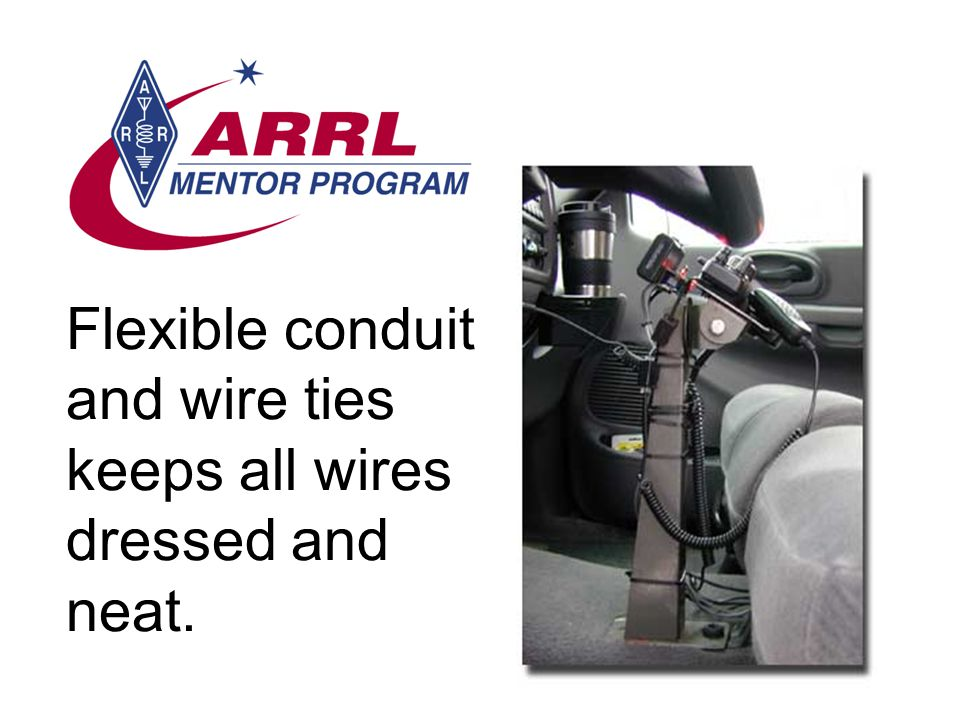 Flexible conduit and wire ties keeps all wires dressed and neat.