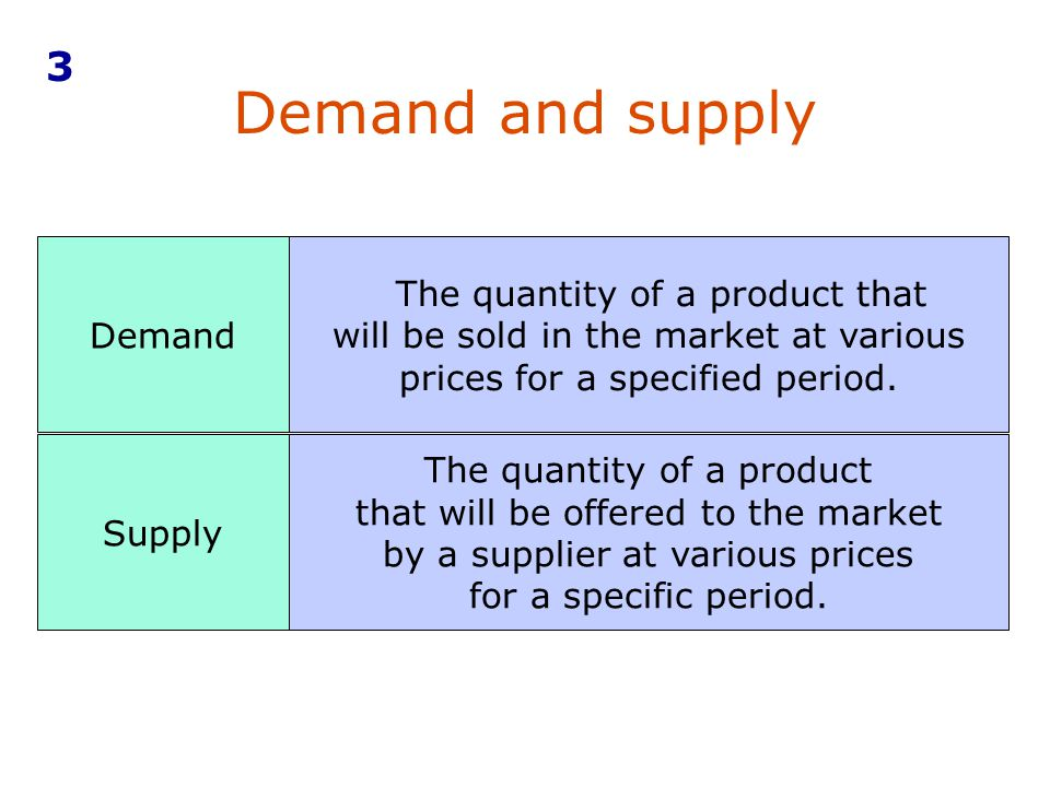 3 Demand and supply. Demand. The quantity of a product that will be sold in the market at various prices for a specified period.