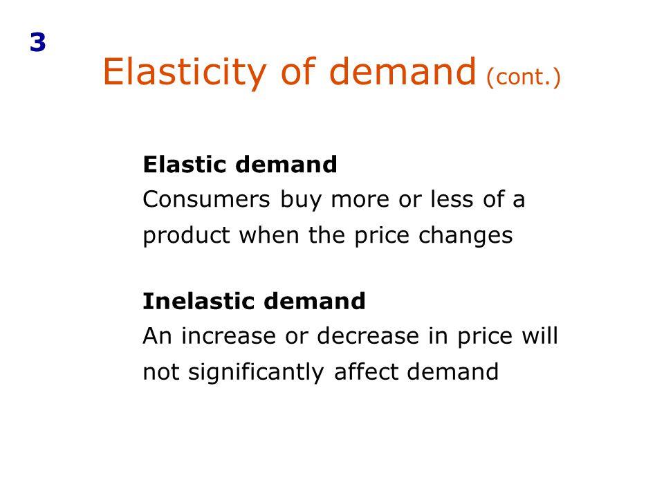 Elasticity of demand (cont.)