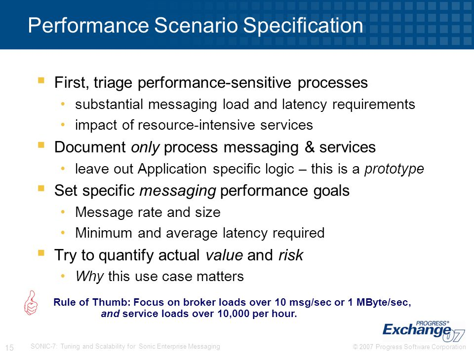 Performance Scenario Specification