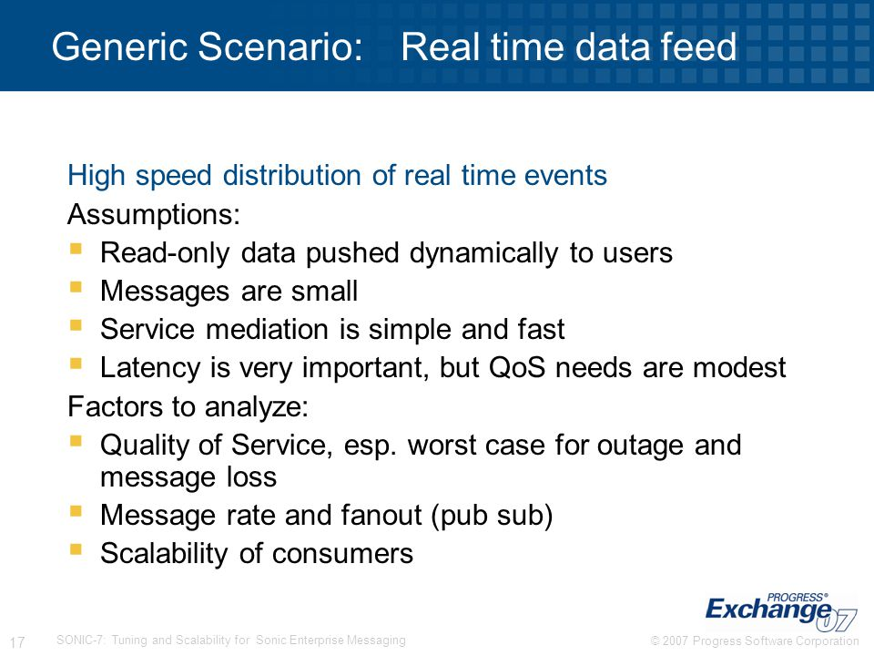 Generic Scenario: Real time data feed