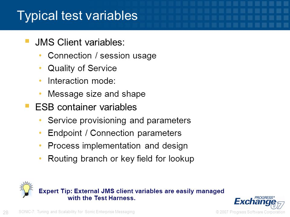 Typical test variables