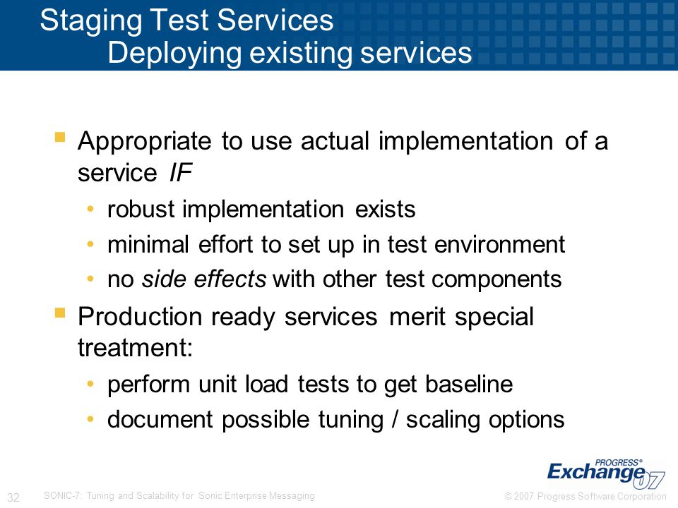 Staging Test Services Deploying existing services