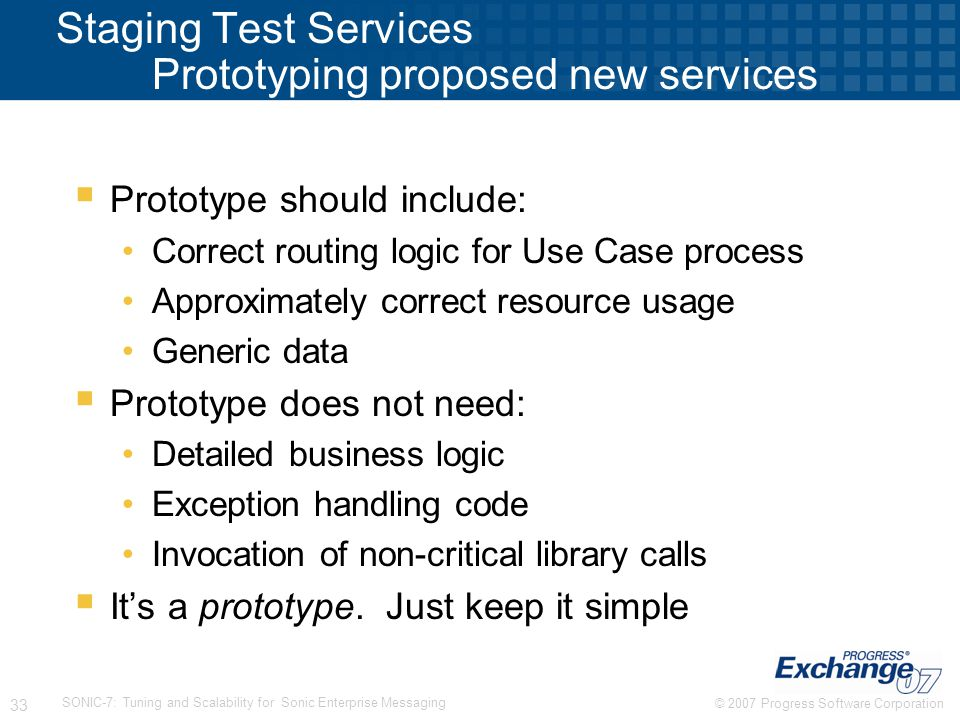 Staging Test Services Prototyping proposed new services