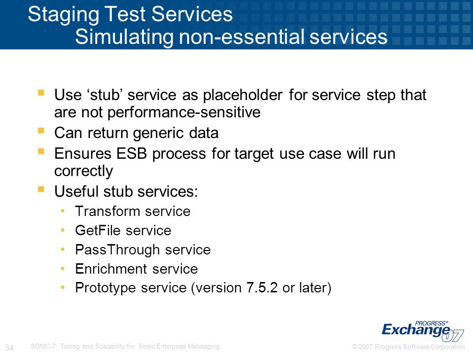 Staging Test Services Simulating non-essential services