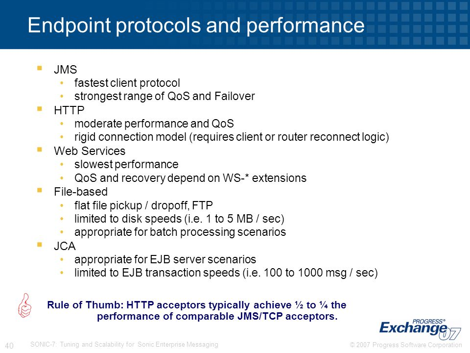 Endpoint protocols and performance