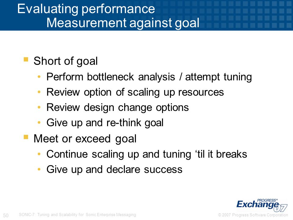 Evaluating performance Measurement against goal