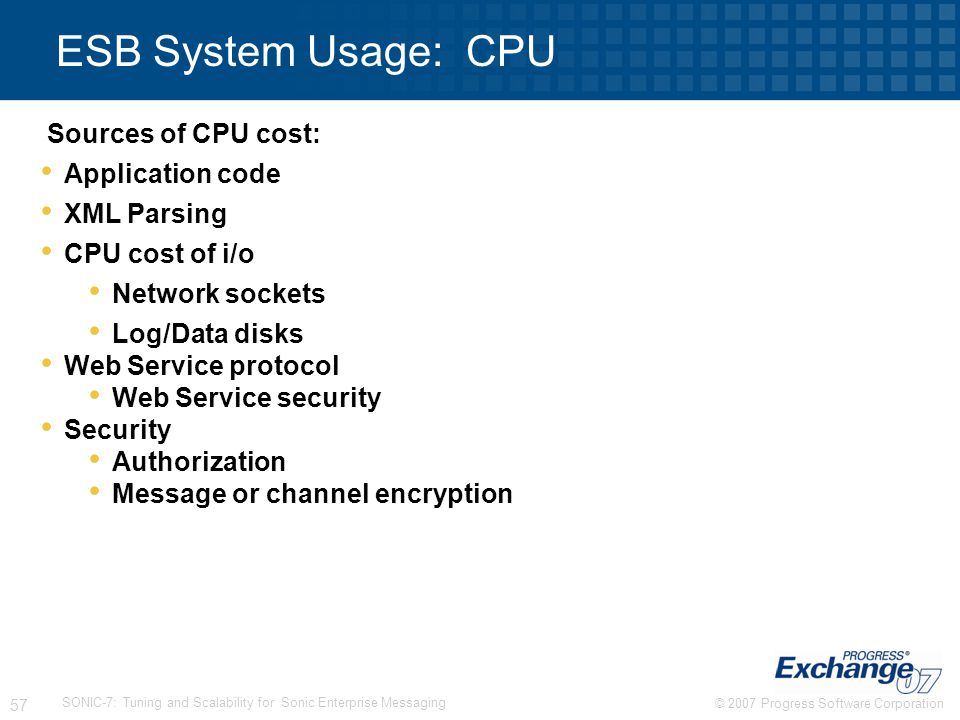 ESB System Usage: CPU Sources of CPU cost: Application code