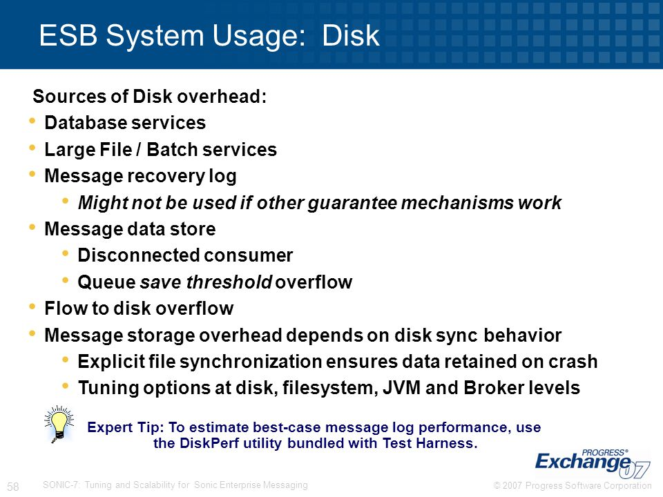 ESB System Usage: Disk Sources of Disk overhead: Database services