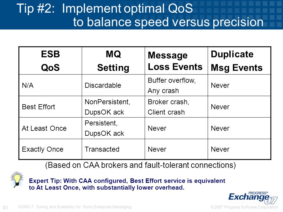 Tip #2: Implement optimal QoS to balance speed versus precision