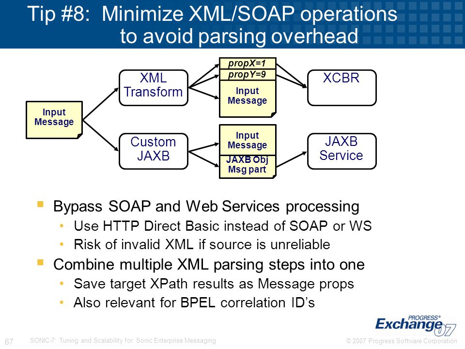 Tip #8: Minimize XML/SOAP operations to avoid parsing overhead