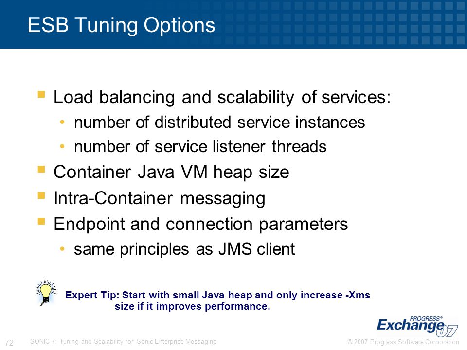 ESB Tuning Options Load balancing and scalability of services: