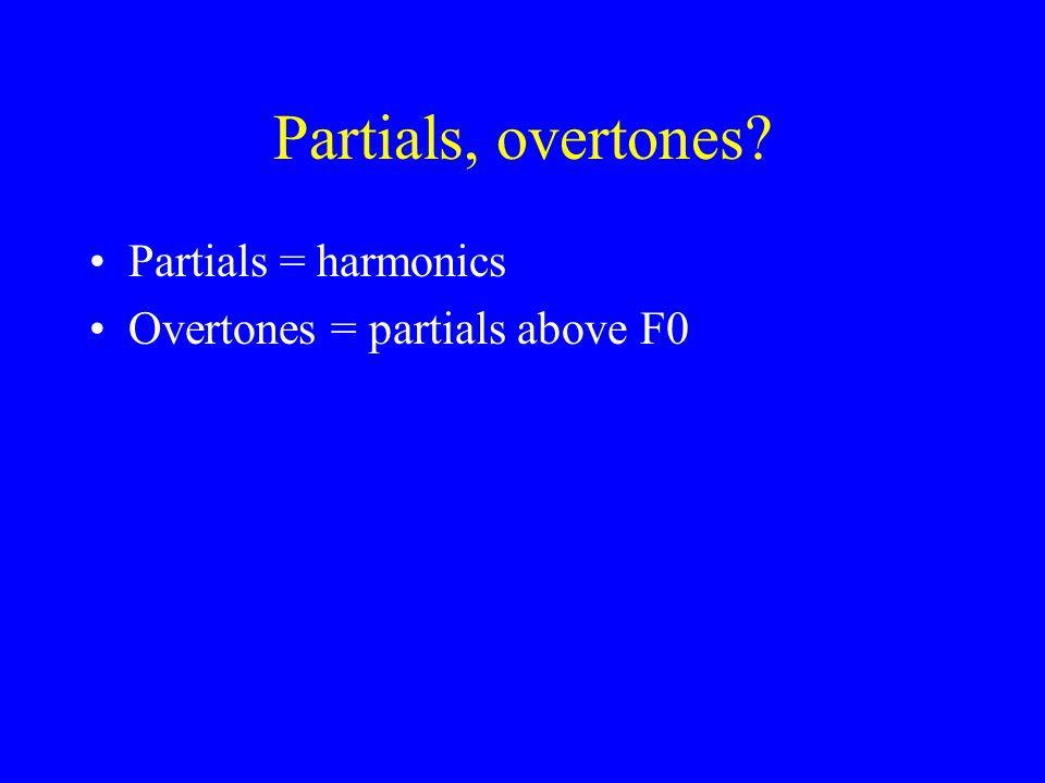 Partials, overtones Partials = harmonics