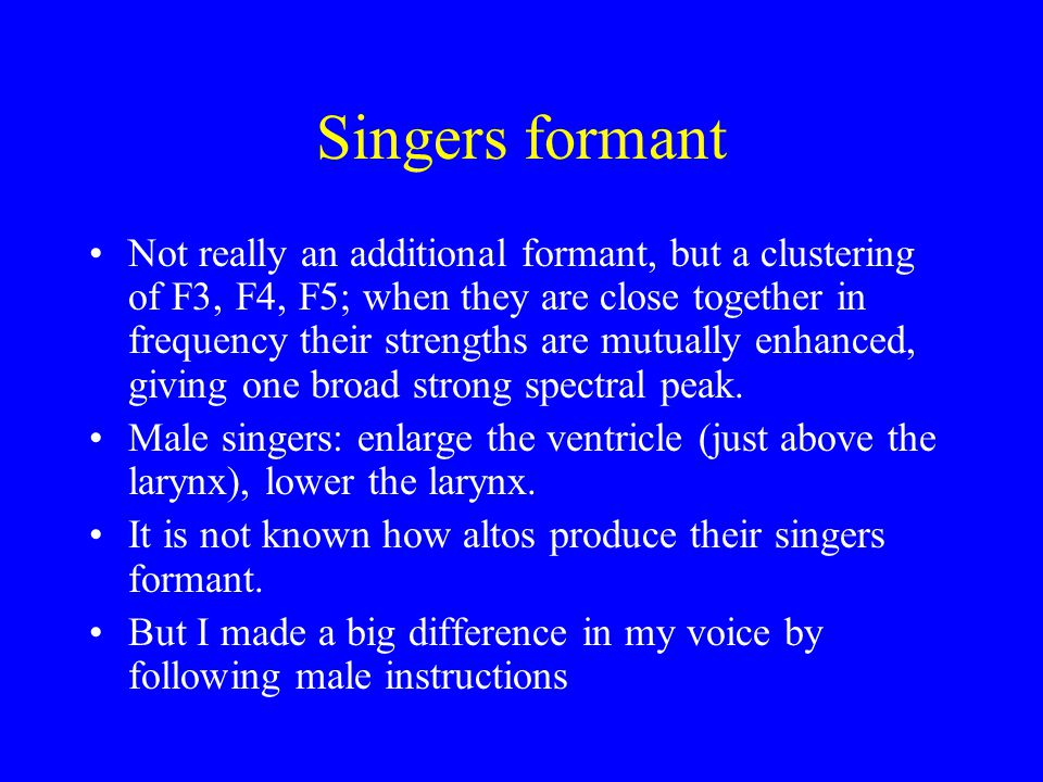 Singers formant