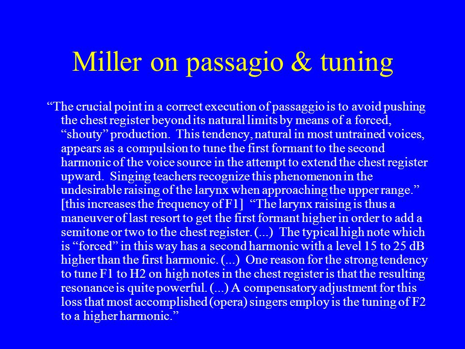 Miller on passagio & tuning
