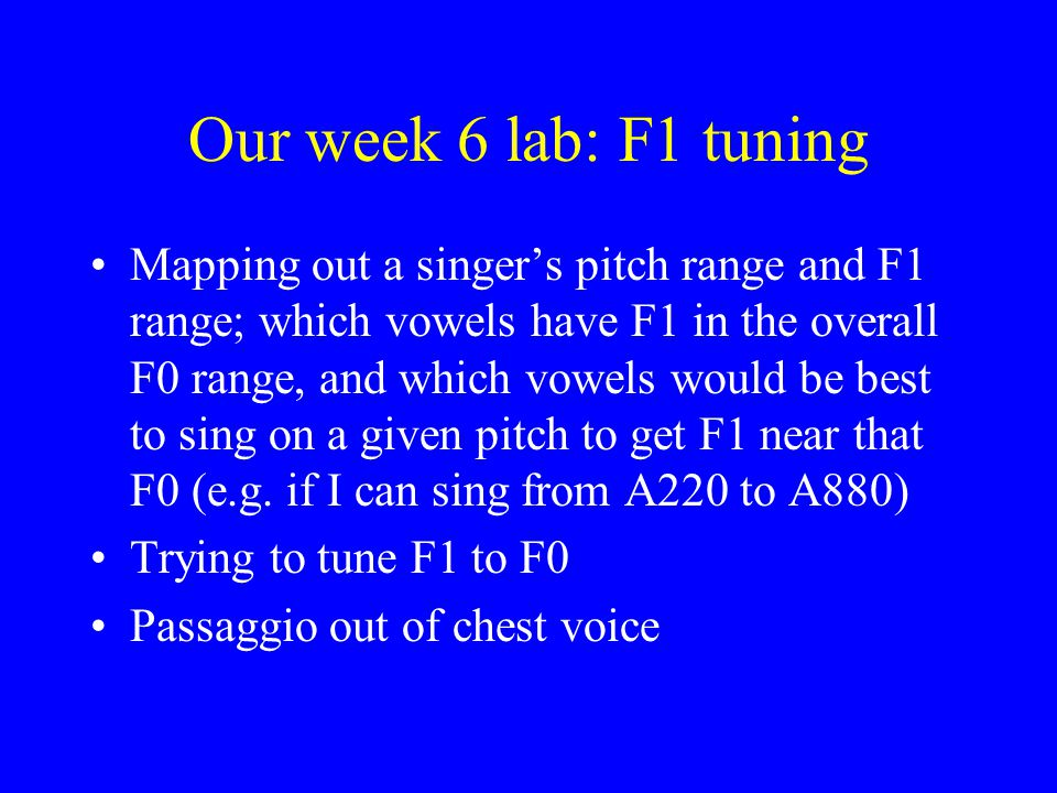 Our week 6 lab: F1 tuning