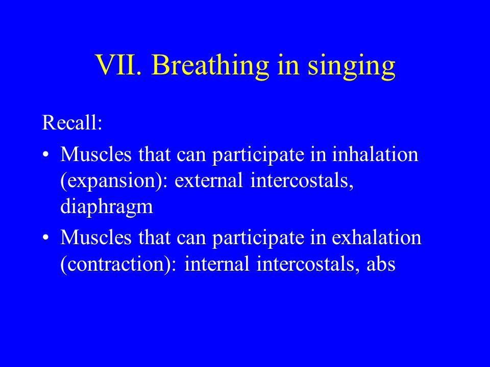 VII. Breathing in singing