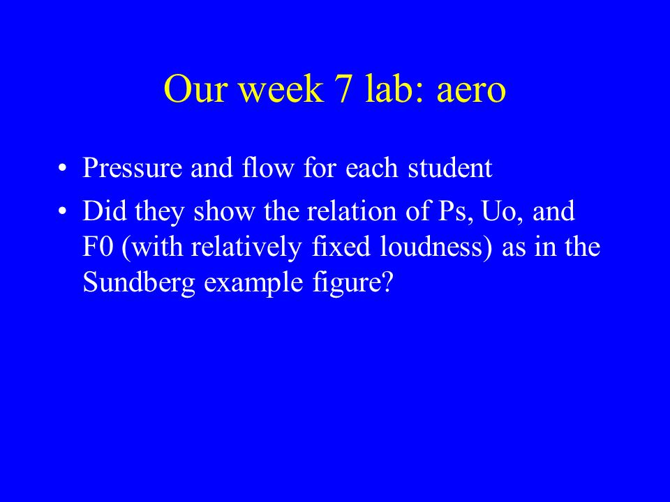 Our week 7 lab: aero Pressure and flow for each student