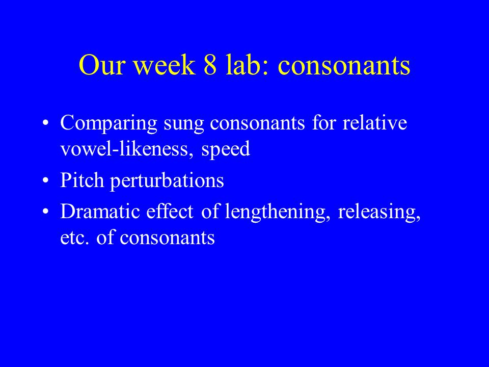 Our week 8 lab: consonants