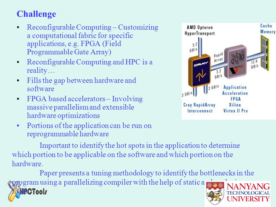 Challenge Reconfigurable Computing – Customizing a computational fabric for specific applications, e.g. FPGA (Field Programmable Gate Array)