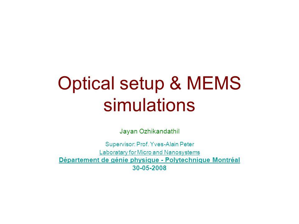 Optical setup & MEMS simulations