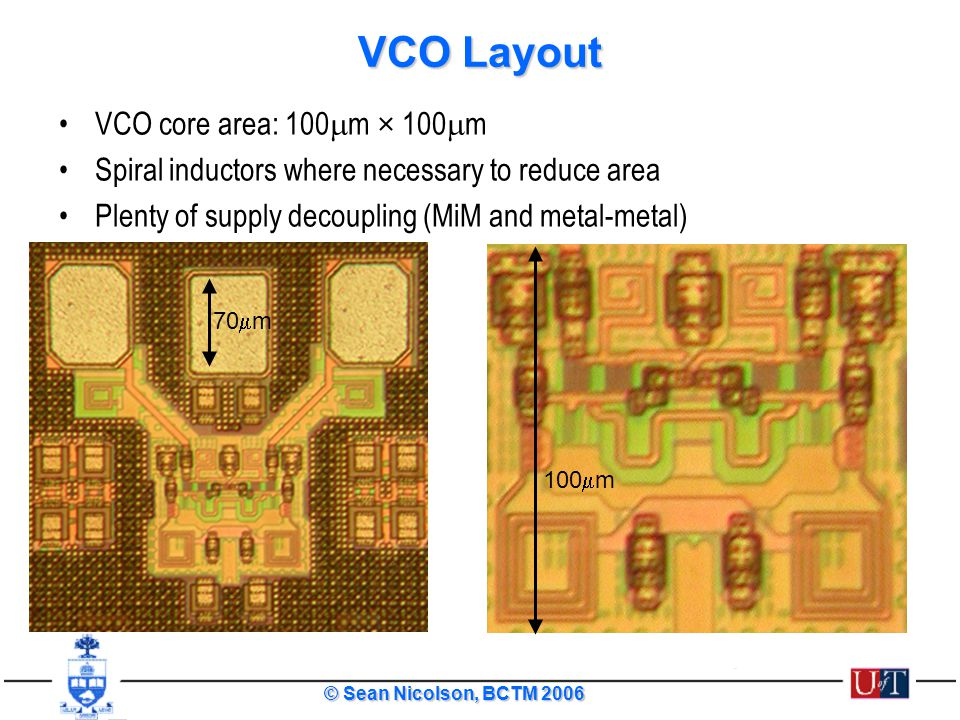 VCO Layout VCO core area: 100mm × 100mm