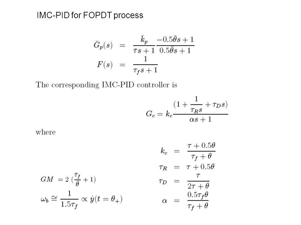 IMC-PID for FOPDT process