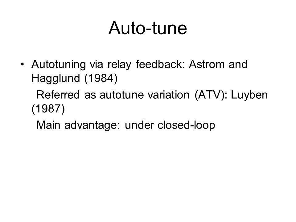 Auto-tune Autotuning via relay feedback: Astrom and Hagglund (1984)