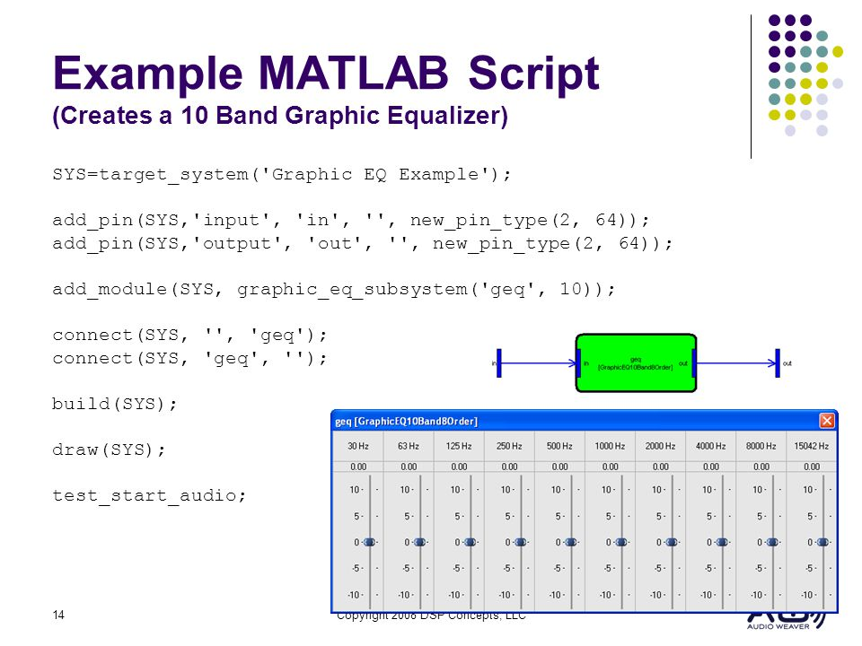 Example MATLAB Script (Creates a 10 Band Graphic Equalizer)