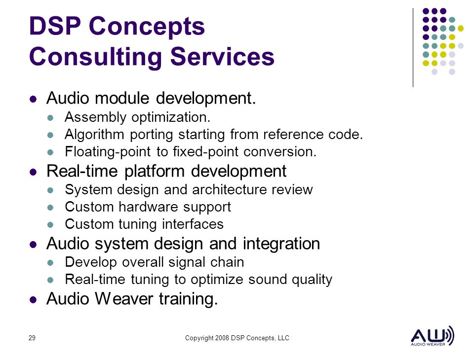 DSP Concepts Consulting Services