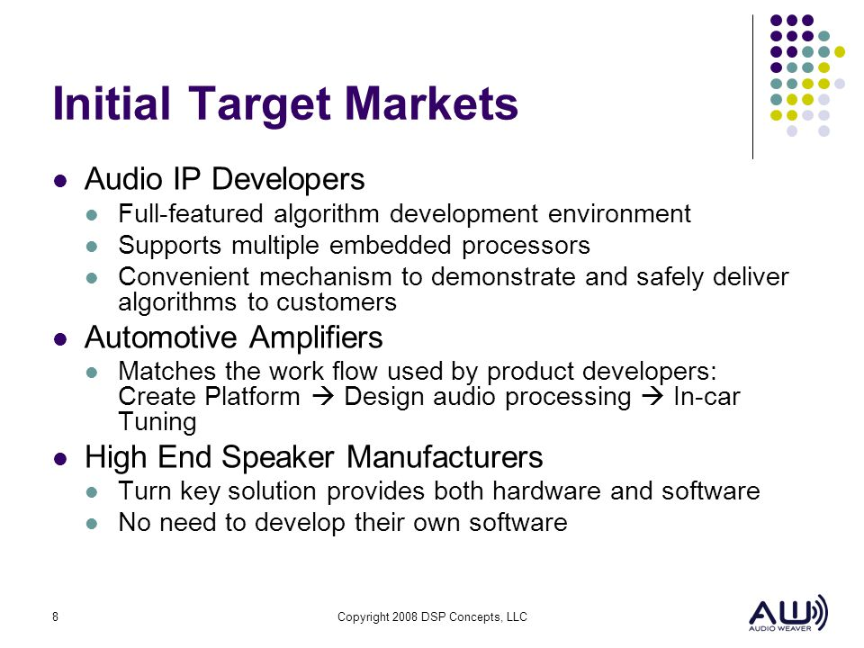 Initial Target Markets