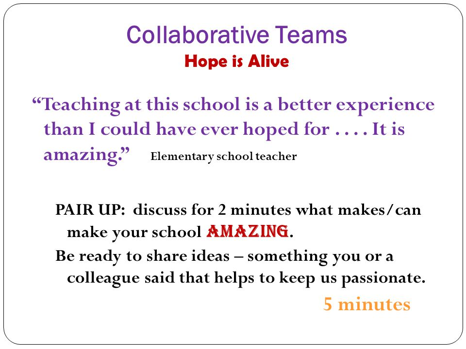Collaborative Teams Hope is Alive