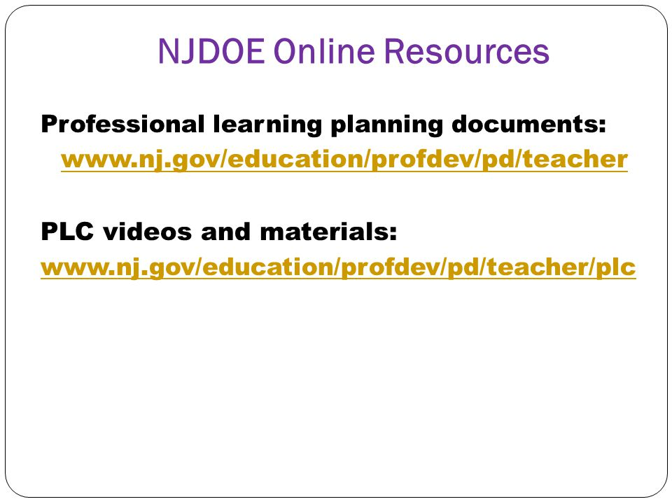 NJDOE Online Resources