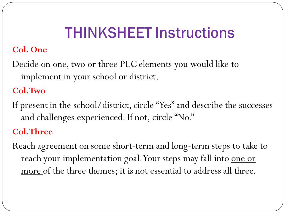 THINKSHEET Instructions