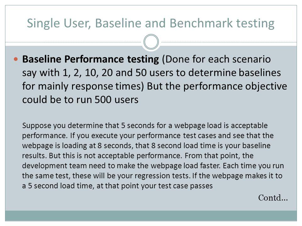 Single User, Baseline and Benchmark testing