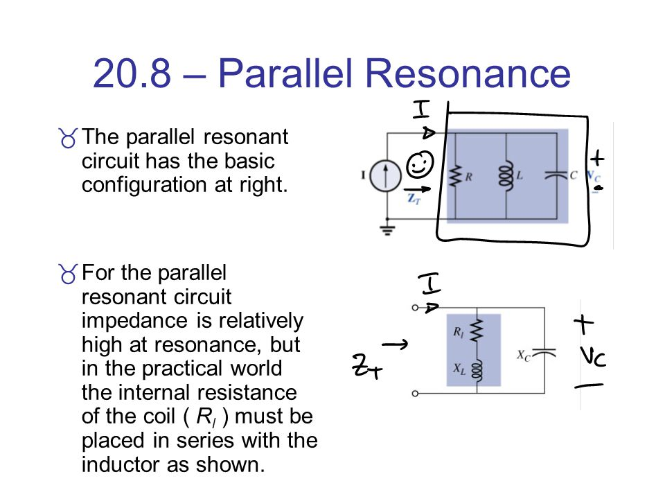 20.8 – Parallel Resonance The parallel resonant circuit has the basic configuration at right.
