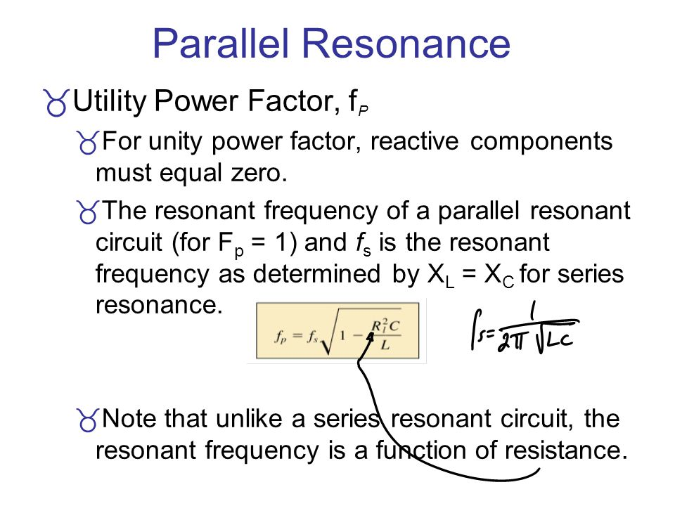 Parallel Resonance Utility Power Factor, fP