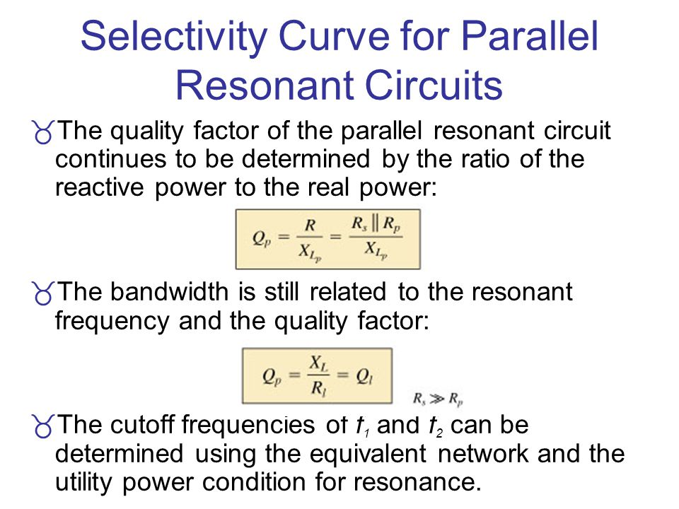 Selectivity Curve for Parallel Resonant Circuits