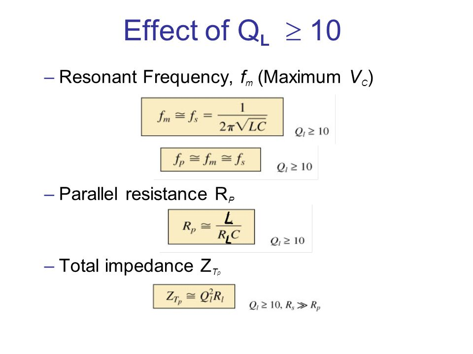 Effect of QL  10 Resonant Frequency, fm (Maximum VC)