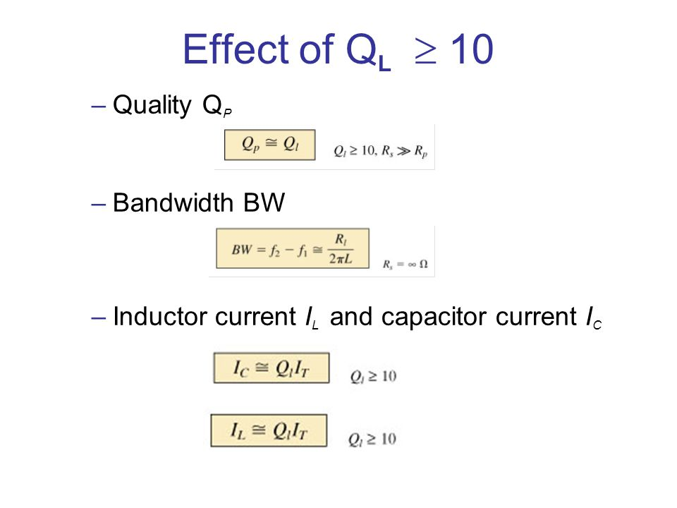 Effect of QL  10 Quality QP Bandwidth BW