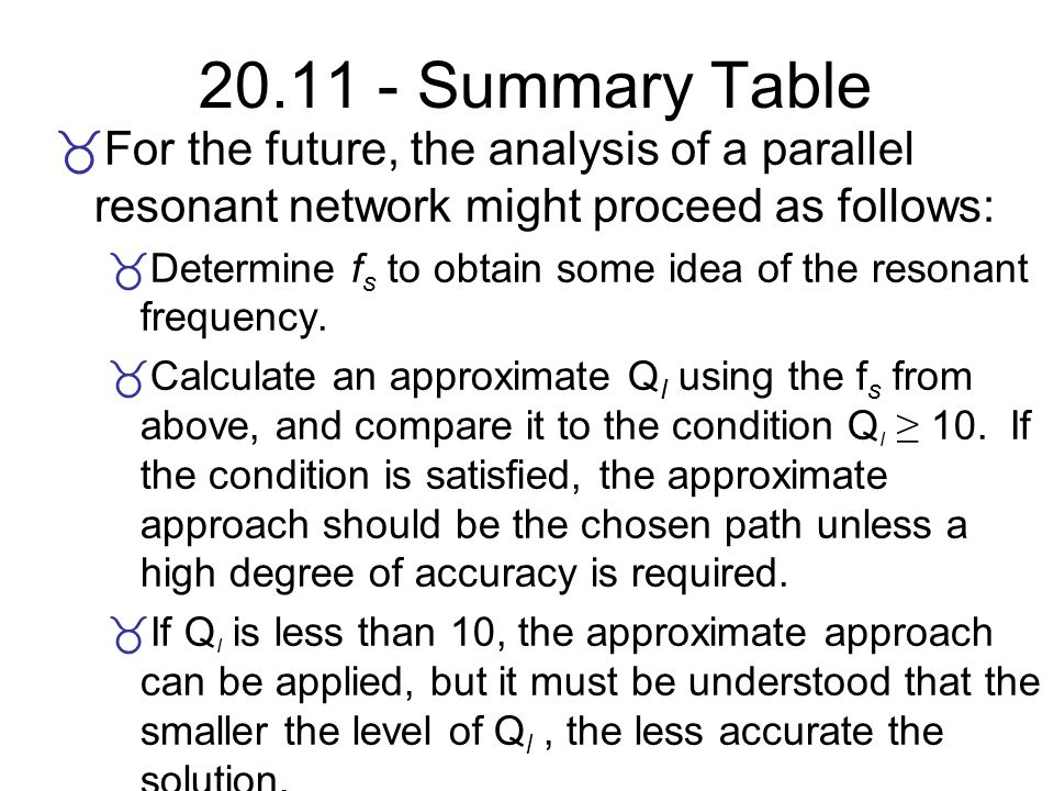 20.11 - Summary Table For the future, the analysis of a parallel resonant network might proceed as follows: