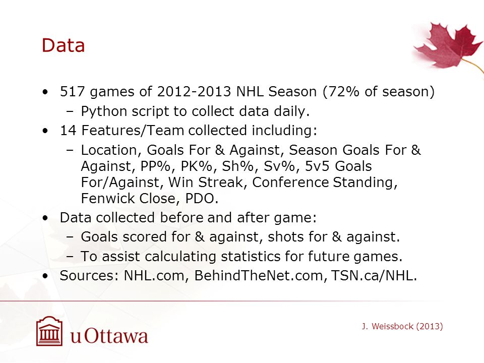 Data 517 games of 2012-2013 NHL Season (72% of season)