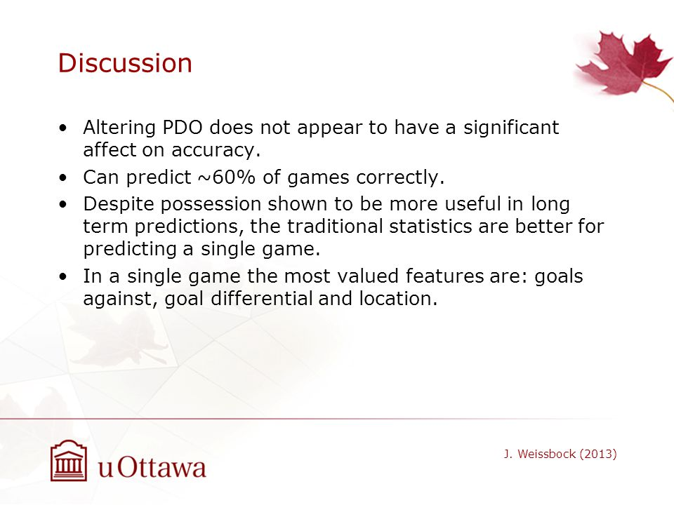 Discussion Altering PDO does not appear to have a significant affect on accuracy. Can predict ~60% of games correctly.
