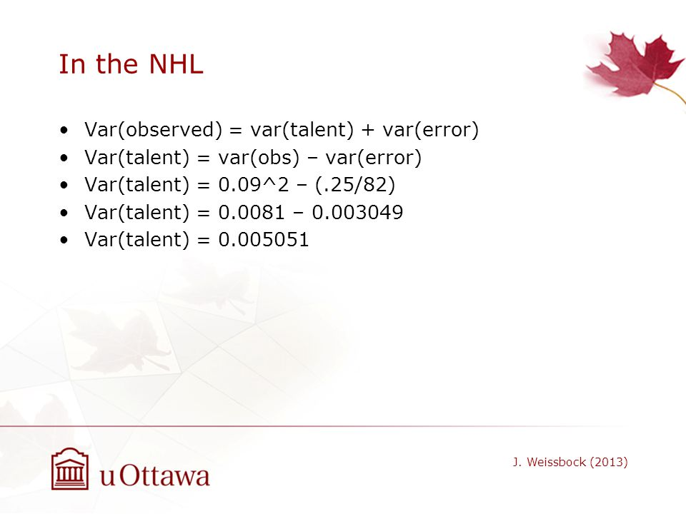 In the NHL Var(observed) = var(talent) + var(error)